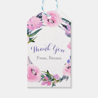 Floral Wreath Watercolor Elegant Bridal Shower Gift Tags