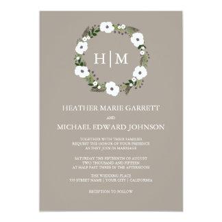 Floral wreath wedding invitation - taupe