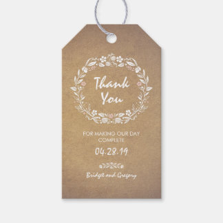 Floral Wreath Wedding Pack Of Gift Tags