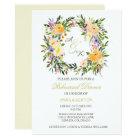 Floral Wreath Wedding Rehearsal Dinner Invitation