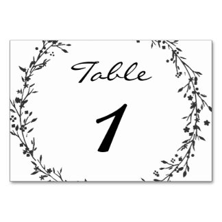 Floral Wreath Wedding Table Number Table Cards