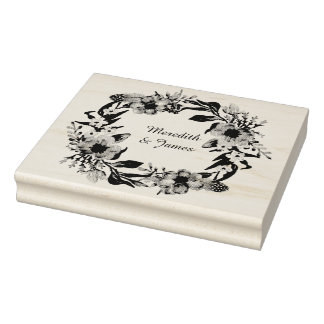 Floral wreath with leaves and sprigs rubber stamp