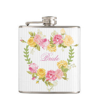 Floral Wreath With Monogram Hip Flask