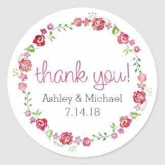 Floral Wreath with Roses - Thank You Stickers