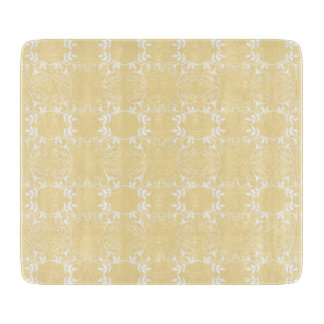 Floral Yellow And White Spring Glass Cutting Board