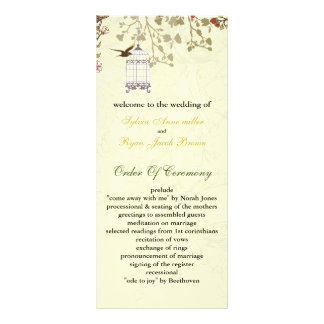 floral yellow bird cage, birds wedding programs customized rack card