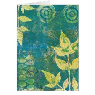 Floral Yellow Green Monoprint Greeting Card