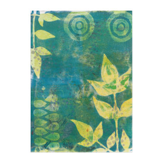 Floral Yellow Green Monoprint Wall Art