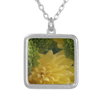 Floral yellow/green silver plated necklace