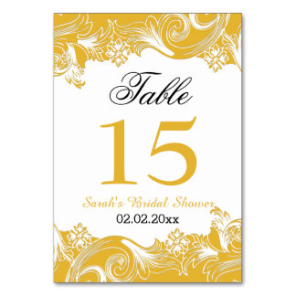 Floral yellow Personalized table numbers Table Cards