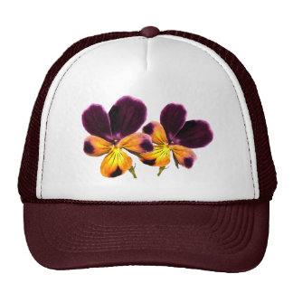 Floral Yellow Purple Pansy Flowers Hat
