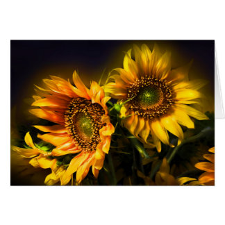 Floral Yellow Sunflower Flowers - Hello, Love Card
