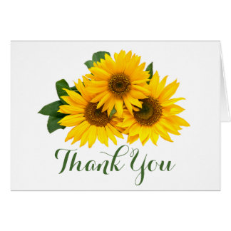 Floral Yellow Sunflower Green Thank You Rustic Card