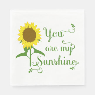 Floral Yellow Sunflower Green Wedding Flower Party Paper Napkin