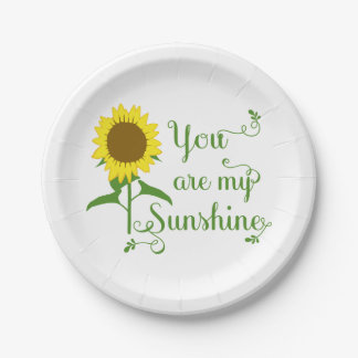 Floral Yellow Sunflower Green Wedding Flowers Paper Plate