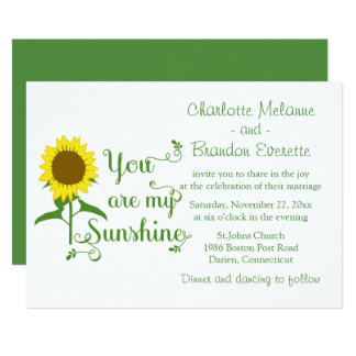 Floral Yellow Sunflower Green Wedding Love Quote Card