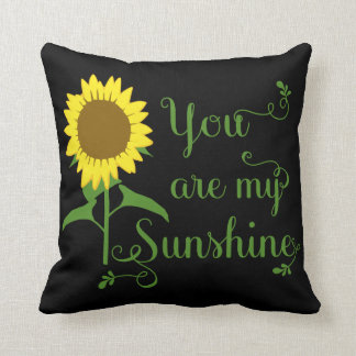 Floral Yellow Sunflower You are My Sunshine Black Throw Pillow