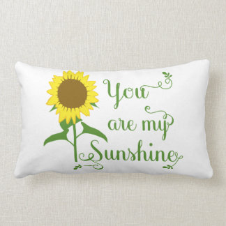 Floral Yellow Sunflower You are My Sunshine Love Lumbar Pillow