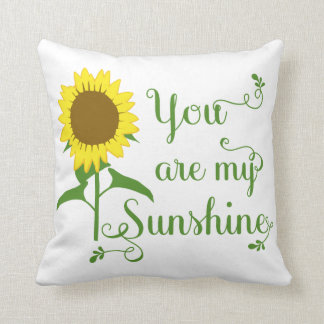 Floral Yellow Sunflower You are My Sunshine Love Throw Pillow
