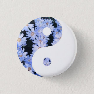 Floral Yin Yang 1 Inch Round Button