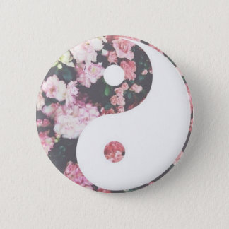 Floral Yin Yang 2 Inch Round Button