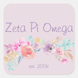 Floral Zeta Pi Omega Sticker
