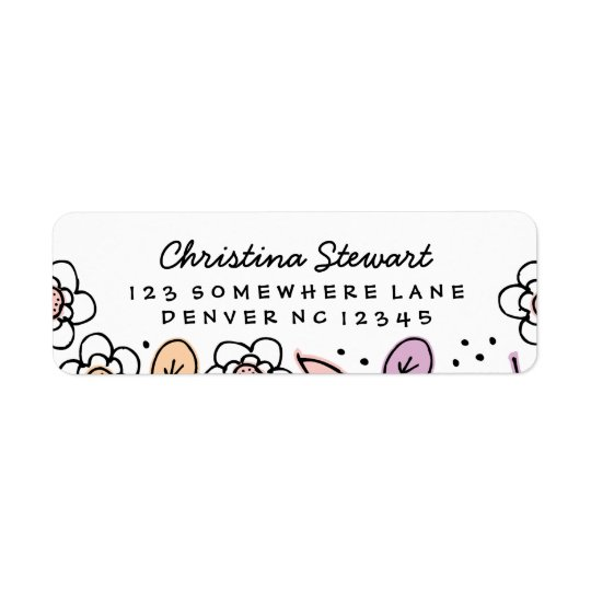 Florals & Leaves Handwriting Return Address Label