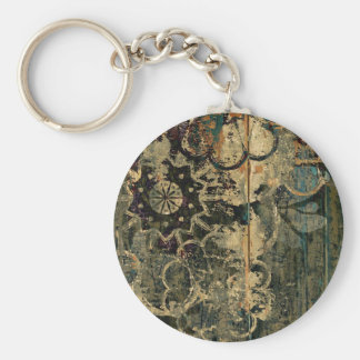 Florals on wood with splotched paint. keychain