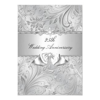 Floraux argentés et cintrent le 25ème anniversaire carton d'invitation  12,7 cm x 17,78 cm