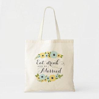 Floraux avec du charme mangent la boisson et sac en toile budget