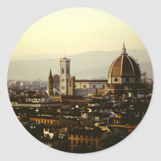 Florence - A View across the city to the Duomo Classic Round Sticker