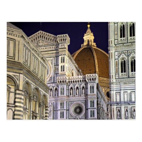 Florence - Cathedral at night postcard