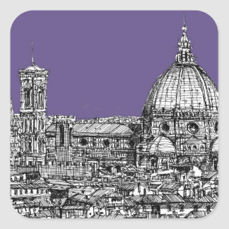 Florence duomo lilac purple square sticker