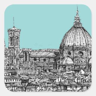 Florence duomo pale blue square sticker