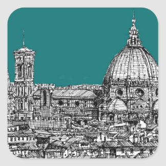 Florence in turquoise square sticker