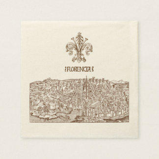 Florence, Medieval Woodcut Disposable Napkins