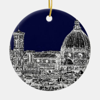 Florence navy dome ceramic ornament