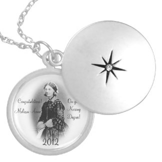 Florence Nightingale-Nursing Graduate+Personalize Silver Plated Necklace
