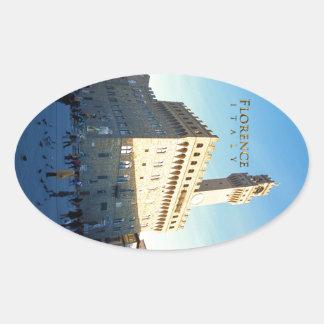 Florence - Piazza della Signoria Oval Sticker