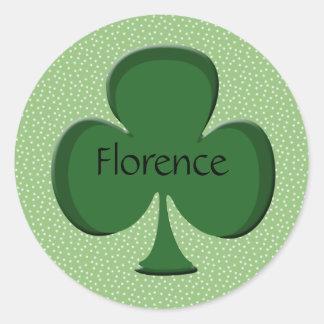 Florence Shamrock Name Sticker / Seal