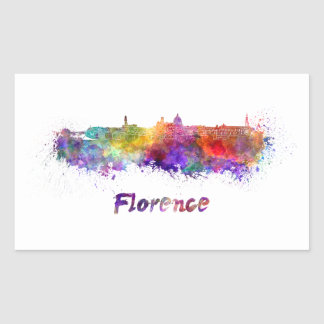 Florence skyline in watercolor splatters with pape