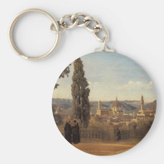 Florence, The Boboli Gardens by Camille Corot Basic Round Button Keychain