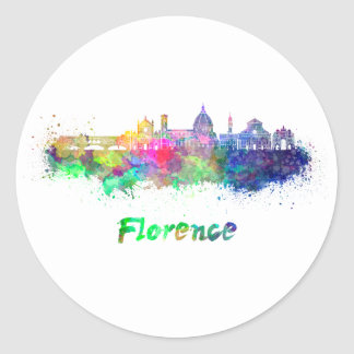 Florence V2 skyline in watercolor Round Sticker