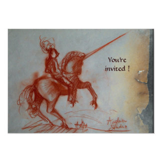 FLORENTINE KNIGHT ON HORSEBACK parchment  silver Card