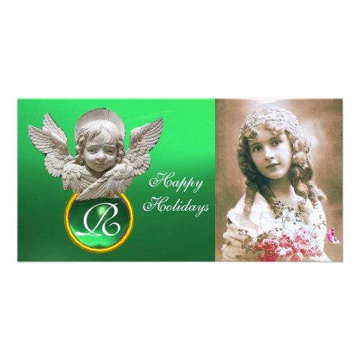 FLORENTINE RENAISSANCE ANGEL Green Gem Monogram Customized Photo Card