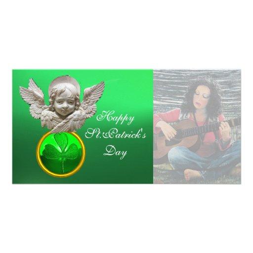 FLORENTINE RENAISSANCE ANGEL Green Shamrock  Gem Photo Card Template