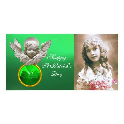 FLORENTINE RENAISSANCE ANGEL Green Shamrock  Gem Photo Card