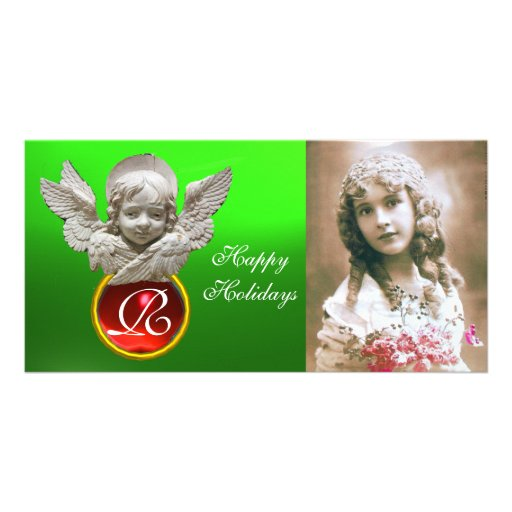 FLORENTINE RENAISSANCE ANGEL Red Gem Monogram Customized Photo Card