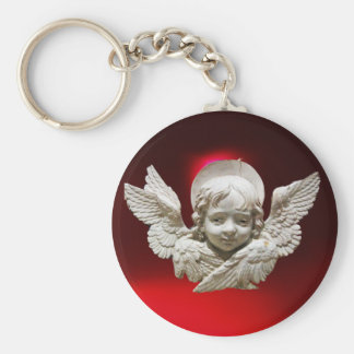 FLORENTINE RENAISSANCE ANGEL,Red Ruby Gem Basic Round Button Keychain