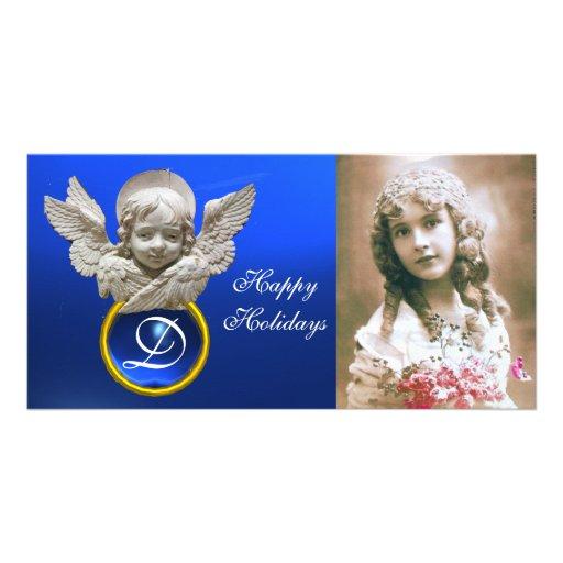 FLORENTINE RENAISSANCE ANGEL Sapphire Gem Monogram Photo Cards